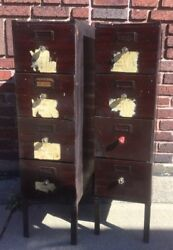 Pair Of Antique Factory 4 Drawer File Cabinet Mahogany Metal Finish Small Size