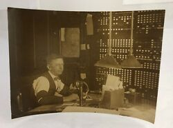 Vintage c1920 Candlestick Telephone Switchboard Railroad Operator Photo