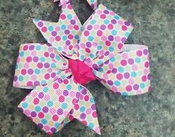 3inches Set of 2 polka dots Pin wheel Hair bow nonslip Alligator Clip bright