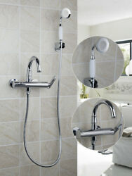 Bathroom Bathtub Wall Mounted Swivel Spout Chrome Faucet Mixer Tap And Hand Spray