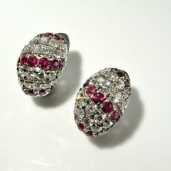 NO HEAT UNHEATED RED NATURAL RUBY Diamond Dome Earrings 1950s 18K White Gold 750
