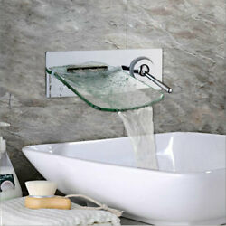 Chrome Brass Bathroom Waterfall Glass Spout Faucet Single Handle Hot Andcold Ta
