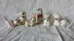 Vintage Ceramic Hand Painted Kitty Cat Bunny Figurines Variety 6 pc Lot