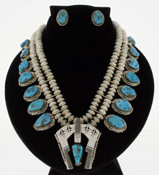 Traditional Squash Necklace And Matching Earrings By Navajo Artist Bennie Ration