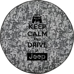 Urban Digital Camo Denim -Keep Calm and Drive a Jeep Outdoor  Spare Tire Cover