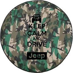 Woodland Camo Denim -Keep Calm and Drive a Jeep Outdoor  Spare Tire Cover