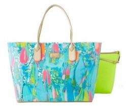 NWT Lilly Pulitzer *2 BAGS IN ONE* BREEZY TOTE Bag Clear Beach & Bae Waterproof