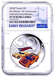2018 Hot Wheels 50th Anniversary Silver Proof 1 1oz Coin Ngc Pf70 Uc Er