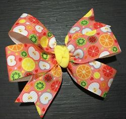 3inches Set of 2 Fruit Summer Orange Pin Wheel Hair bow Alligator Clip Handmade