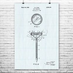 Meat Thermometer Poster Print Restaurant Decor Culinary Gift Cafe Decor Bbq Gift