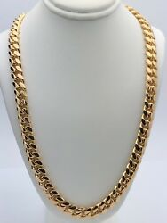 Menand039s 14k Yellow Gold Solid Heavy Miami Cuban Chain Necklace 28 8.8mm 158.9g
