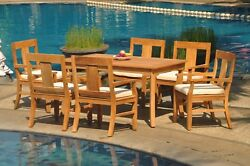 Dsos A-grade Teak 7pc Dining Set 60 Rectangle Table 6 Arm Chair Outdoor Patio