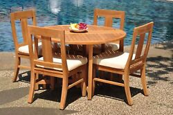 Dsos A-grade Teak 5pc Dining Set 48 Round Butterfly Table 4 Armless Chair Patio