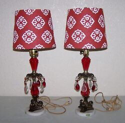 2 Pair Vintage Lamps Italy Marble Base Red amp; Clear Crystals New Shades