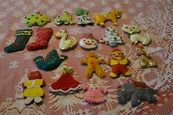 18 Vintage Christmas Handmade stuffed felt Tree Ornaments with sequins ~ shapes