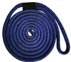 5/8 X 25and039 Double Braid Nylon Dock Lines - Navy - Made In Usa