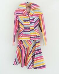 Vivienne Westwood From Les Femmes 1996 Collection Multi Color Striped Asymmetry