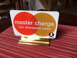 Vintage Master Charge Interbank Plastic Display Sign 7''x5'' New, Old Stock