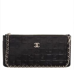 Chanel Black Quilted Icons Bag Purse Wristlet Clutch