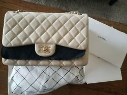 CHANEL Caviar Quilted Jumbo Double Flap Light Beige