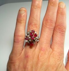 NO HEAT Ruby Diamond Cluster Ring 14K 1950s Engagement Floral Red Cocktail Dress