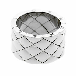Chanel Matelasse White Gold Quilted Ring (0000528)