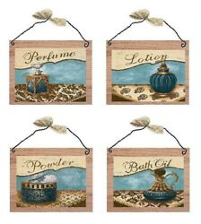 Victorian Pictures Blue Paris Bathroom Perfume Bed Bath Wall Hangings Plaques