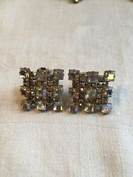 High End Estate Sale Vintage Square Rhinestone Clip On Earrings