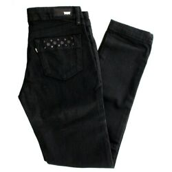 Womens Demi Curve Skinny Leg Jeans Pants With Riveted Pockets, Black