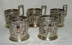 Antique Persian Islamic Silver Cup Holder Cups Set