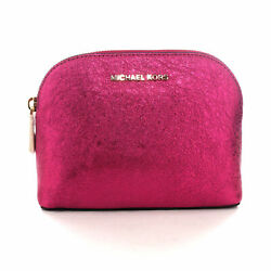 Michael Kors Ultra Pink Metallic Dome Zip Cosmetic Pouch Travel Clutch $88 $29.99