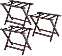3 Pack Luggage Suitcase Rack Wood Folding Hotel Shelf Stand Tray Cart Red Brown