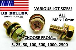 Usa 5 To 2500 Pack Phillips Hex Head M8 X 16mm Sems Flat/split Washer Bolt Nh