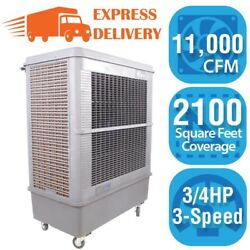 Hessaire Portable Evaporative Cooler 11000 CFM 3-Speed Oscillating 3-Sided Pad