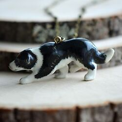 Hand Painted Porcelain Border Collie Necklace Antique Bronze Chain Ceramic Dog