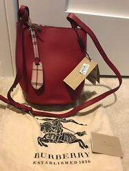 Burberry Leather and Haymarket Check Red Crossbody Bucket Bag NWT $850