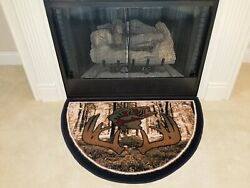 Catch Of The Day 2'2x 3'3 Fireplace Hearth Rug Wildlife Fish Deer Antler