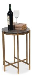 21 H Fedele Set Of Two Side Table Leather Mdf Iron Dia Black Shagreen Finis