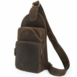 Men Sling Bag Leather Chest Shoulder Backpack Crossbody For Travel Hiking School $53.36