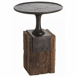 18 Round Accent Table Contemporary Iron Burnt Wax Black