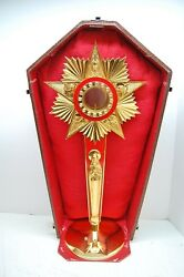 20 1/2 Gold Plated Church Monstrance With Luna And Case Mary Evangelists Tcg123