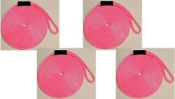 Solid Braid Nylon Dock Line 5/8 X 45and039 - Floats Made In Usa / Pink 4-pack
