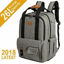 TEBEL Baby Diaper Bag Backpack Multi-functional with Stroller Strap Gray