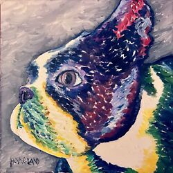 Original Boston Terrier Portrait Oil on Canvas