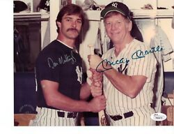 Mickey Mantle And Don Mattingly Autographed 8x10 At Old Timers Day - Jsa