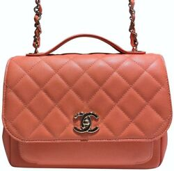 Chanel Classic Flap Caviar Small Business Affinity Top Handle Light Orange Pink