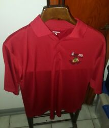 Nhl Chicago Blackhawks 2013 Stanley Cup Champs Red Antigua Polo Shirt Sz L