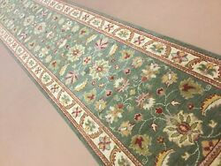 2andrsquo.7andrdquo X 15andrsquo.2andrdquo Green Runner Oriental Rug Agra Hand Knotted Floral Wool