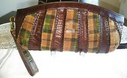 Hobo International Long Brown Croc Leather Wristlet Wallet Xlnt Condition!!