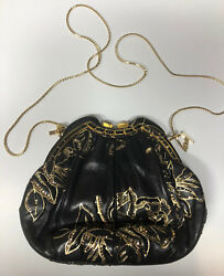 JUDITH LEIBER Hand Painted Vintage Black Leather Crystals-Shoulder BagClutch